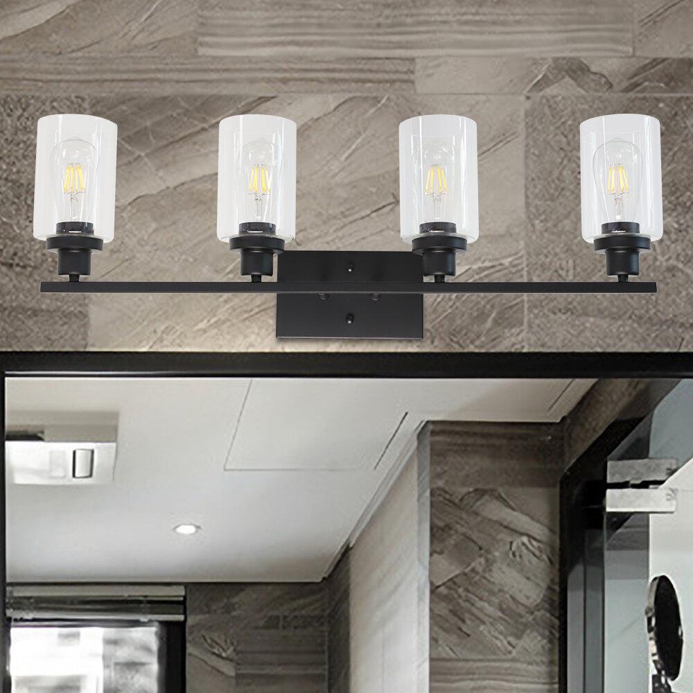 17 Stories Shirk 4 Light Dimmable Black Wall Vanity Lighting Reviews Wayfair