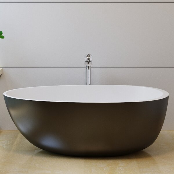 Spoon2 66.25 x 35.25 Freestanding Soaking Bathtub by Aquatica