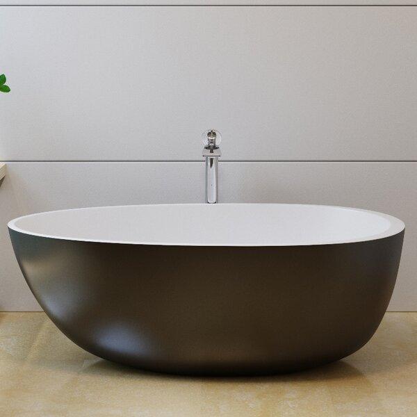 Spoon2 66.25 x 35.25 Freestanding Soaking Bathtub by Aquatica
