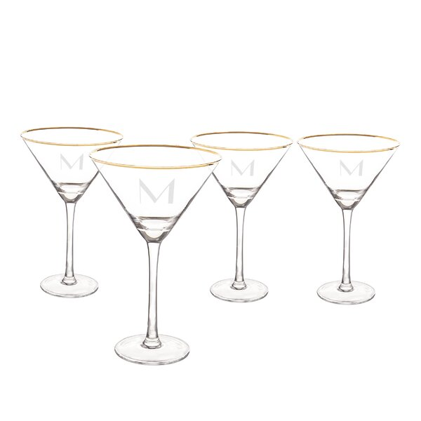 Personalized 10 Oz. Gold Rim Martini Glass Set (Set of 4) by Cathys Concepts