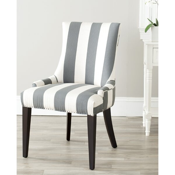 Alpha Centauri Upholstered Side Chair in Linen - Gray Stripe with Carpenter Nailheads by Brayden Studio