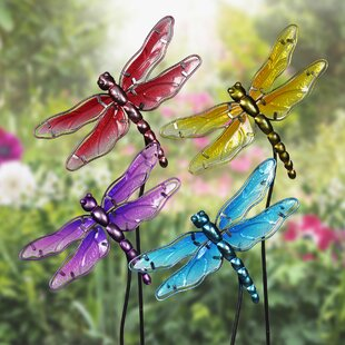 Disalvo Glass Dragonfly Garden Stakes (Set Of 4)