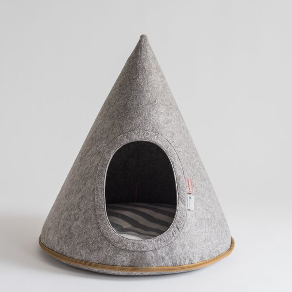 Gray Felt Pet Cave Hooded Dog Bed with Oval Door b