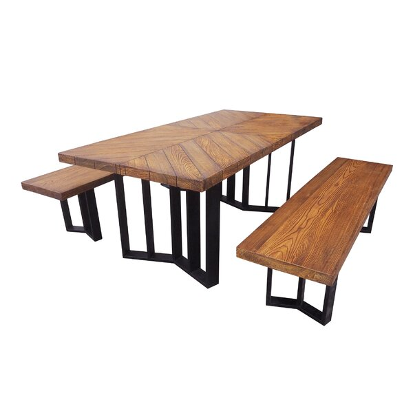Merrydale Outdoor Picnic Table with 2 Benches by Gracie Oaks