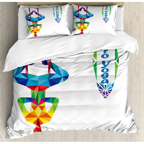 Aerial Aero Anti-Gravity Yoga Theme Colorful Triangles Fractal Style Human Body Image Duvet Set by East Urban Home