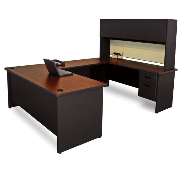 Pronto Flipper Door Unit U-Shape Executive Desk with Hutch by Marvel Office Furniture