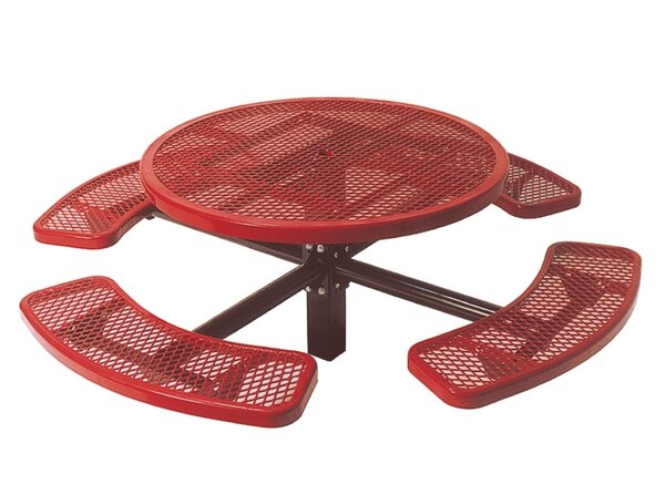 Single Pedestal Inground Round Picnic Table with Diamond Pattern by Ultra Play