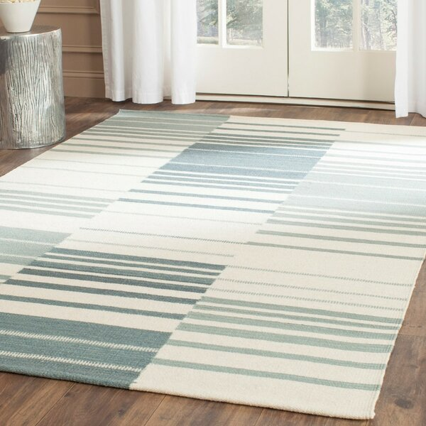 Kilim Blue & Ivory Striped Area Rug by Safavieh