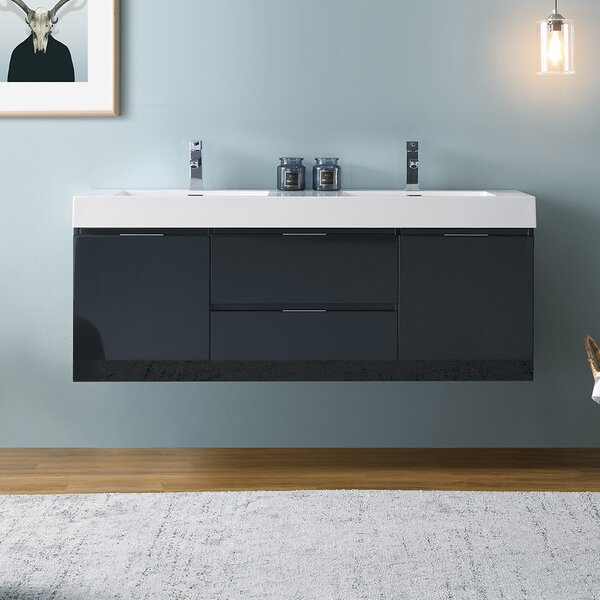Senza Valencia 60 Wall Mounted Double Bathroom Vanity Set by Fresca