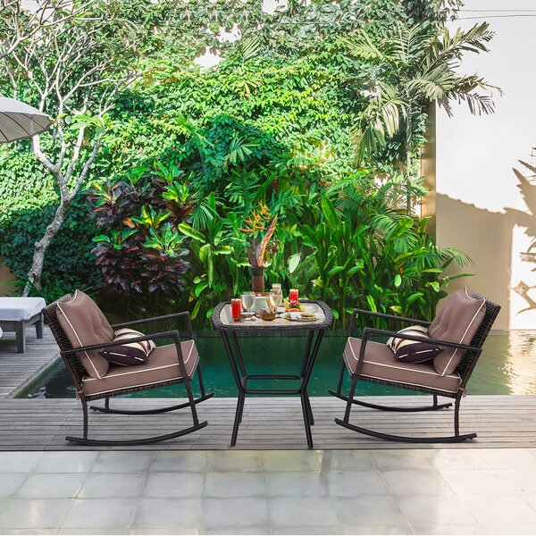 Kumsal Rocking Garden 3 Piece Rattan Seating Group with Cushions by Latitude Run