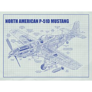Aviation Cutaways 'North American P 51D Mustang' Silk Screen Print Graphic Art in White Grid/Blue Ink by Inked and Screened