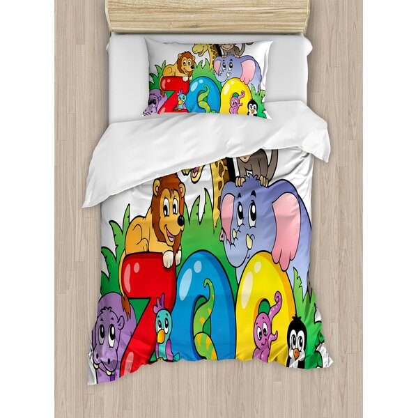 Zoo Sign with Various Animals Mascot Cartoon Characters Cute Playful Kids Room Print Duvet Set by East Urban Home
