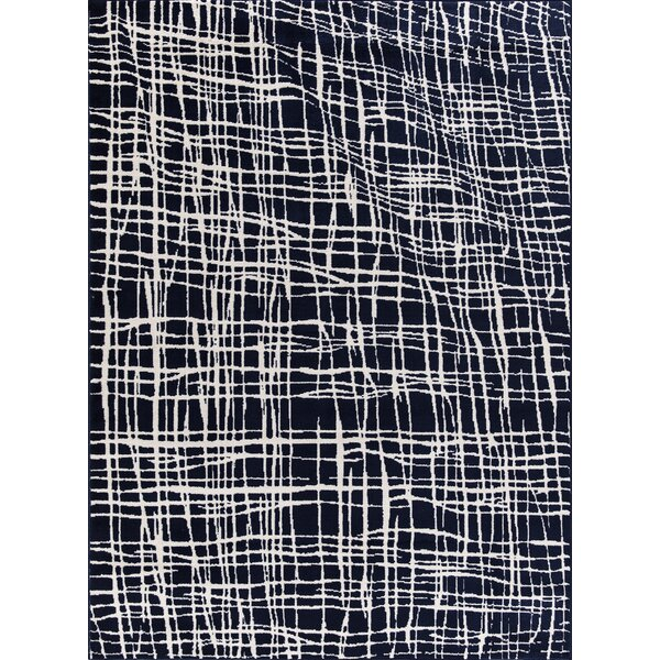Rogalski Abstract Modern Navy/Ivory Area Rug by Orren Ellis