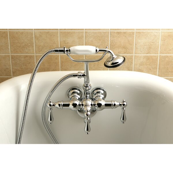 Vintage Triple Handle Wall Mounted Clawfoot Tub Faucet Trim with Handshower by Kingston Brass Kingston Brass