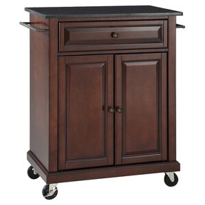 Celeste Kitchen Cart with Granite Top by Alcott Hill