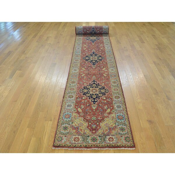 One-of-a-Kind Beason Vegetable Dyes Antiqued Handwoven Red Wool Area Rug by Isabelline