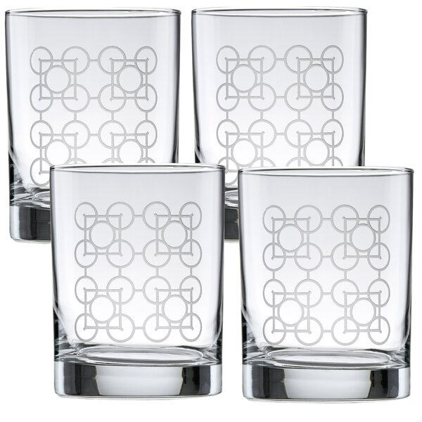 Luxfer Deep Etched 14 oz. Glass Cocktail Glass (Set of 4) by Frank Lloyd Wright