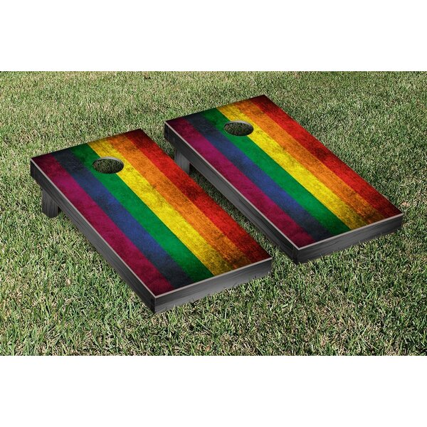 NCAA Rainbow Flag Vintage Cornhole Game Set by Victory Tailgate