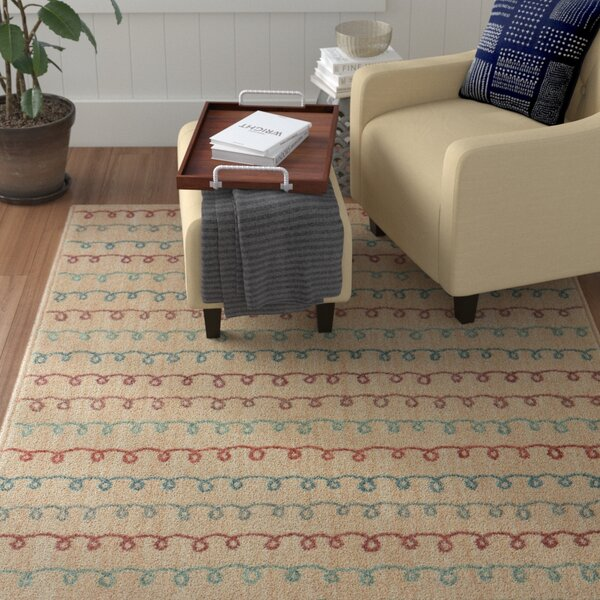 Callicoon Doodle Power Loom Polyester Beige Area Rug by Winston Porter