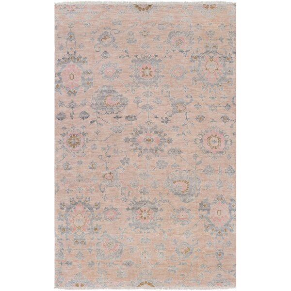 Casco Floral Hand Knotted Beige/Pale Pink Area Rug by Bungalow Rose