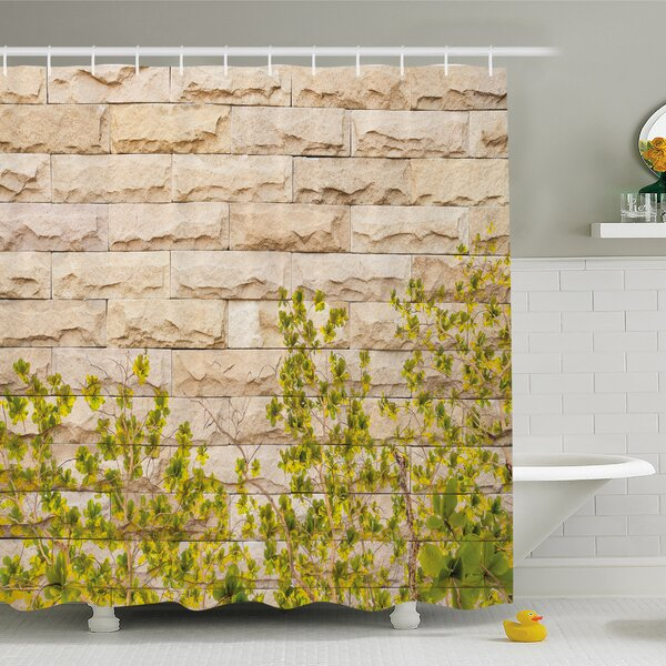 Rustic Home Ground Creepy Climbing Wood Ivy Plant Leaf on Brick Wall Nature Invasion Shower Curtain Set by Ambesonne