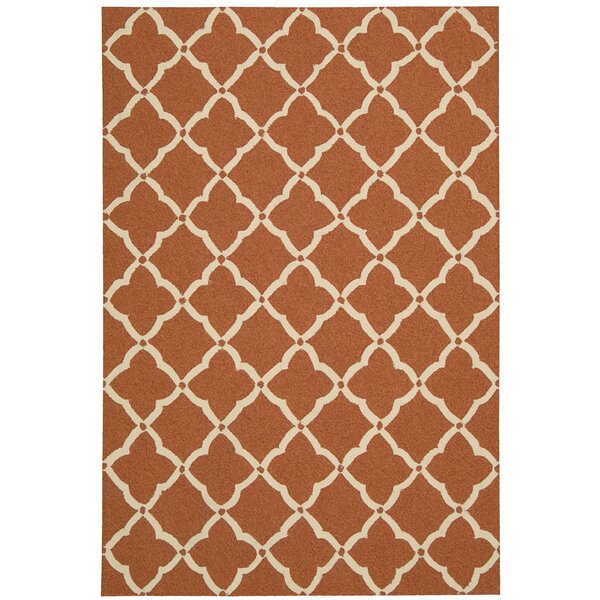 Merganser Hand-Tufted Orange/Beige Indoor/Outdoor Area Rug by Breakwater Bay