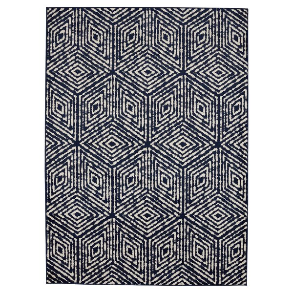 Durant Cubes Navy/Ivory Area Rug by Bungalow Rose