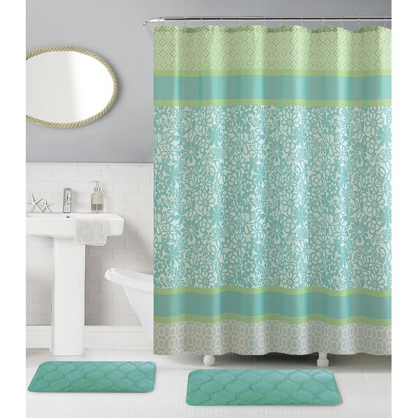 Reiban Memory Foam 15 Piece Shower Curtain Set + Hooks