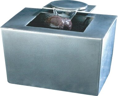 Ceramic Saa-Deh Stainles Steel Rectangle Tabletop Fountain by Nayer Kazemi