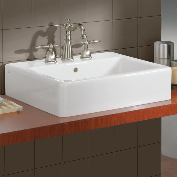 Nuovella Ceramic Rectangular Vessel Bathroom Sink with Overflow by Cheviot Products