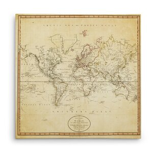'Vintage World Map I' Graphic Art Print on Wrapped Canvas by Wexford Home