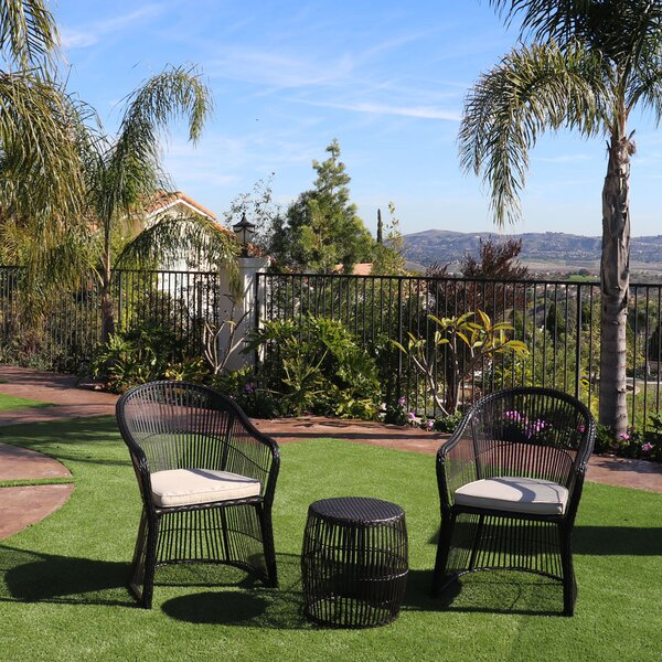 Shelbina Wicker 3 Piece Bistro Set with Cushions by Bay Isle Home