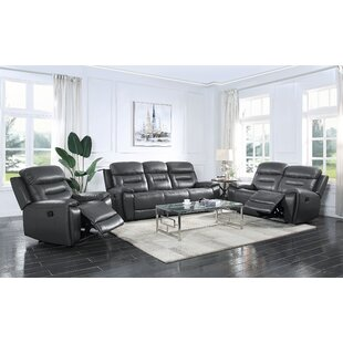 3 Piece Genuine Leather Configurable Living Room Set by Red Barrel Studio®