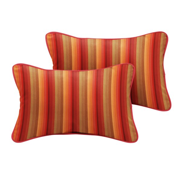 Bien Sunbrella Astoria Sunset Stripe Outdoor Lumbar Pillow (Set of 2) by Bayou Breeze