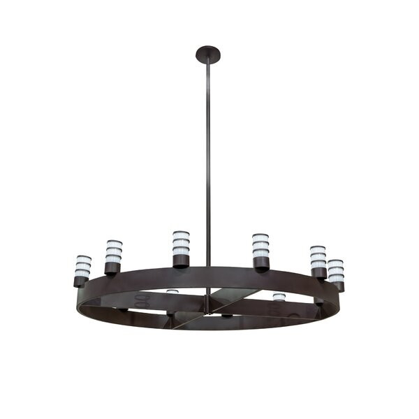 Metoyer 12 - Light Candle Style Wagon Wheel Chandelier by 17 Stories 17 Stories