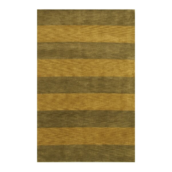 Hand-Knotted Green/Brown Area Rug by Meridian Rugmakers