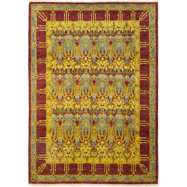 One-of-a-Kind Weid Hand-Knotted Wool Yellow/Red Indoor Area Rug by Bloomsbury Market