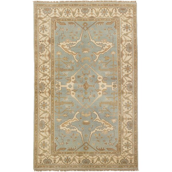One-of-a-Kind Doggett Hand-Knotted Wool Light Blue Area Rug by Isabelline