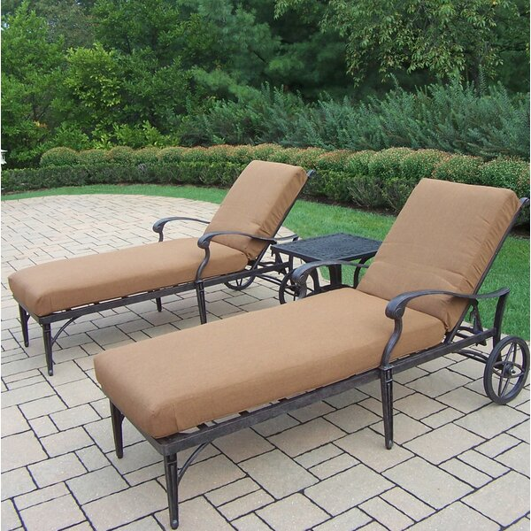 Vandyne Reclining Chaise Lounge Set with Cushions and Table by Darby Home Co