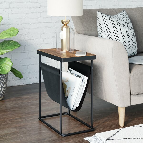 Tinney Wood And Black Metal With Vegan Leather Magazine Holder Sling Frame End Table By Trent Austin Design