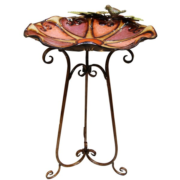 Colorful Bird and Leaves Birdbath by Woodland Imports
