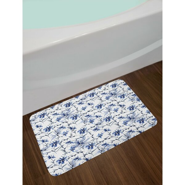 Japanese Ink Paint Flourishing Flower Bath Rug by East Urban Home