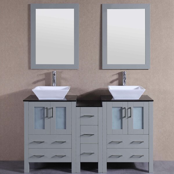 Eleanor 60 Double Bathroom Vanity Set with Mirror by Bosconi
