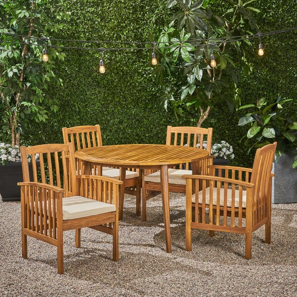 Soares Round 5 Piece Dining Set with Cushions by Breakwater Bay