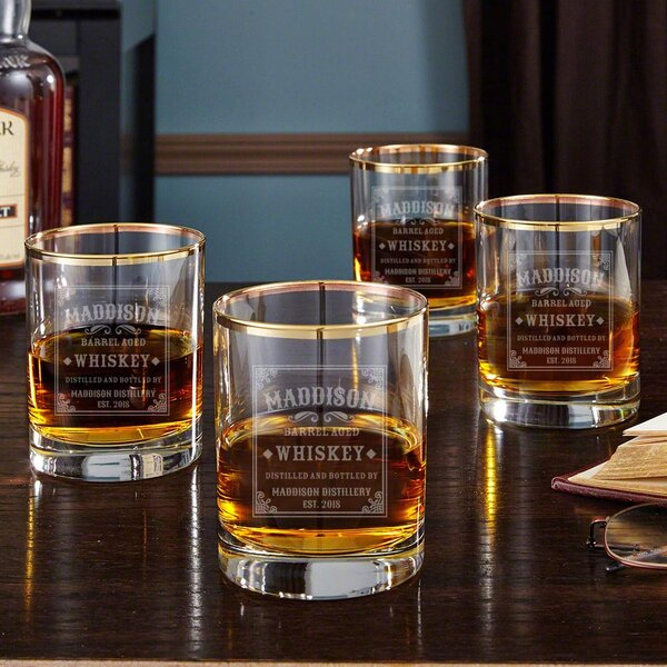 Stillhouse Gold Rim Personalized 10 oz. Whiskey Glass (Set of 4) by Home Wet Bar