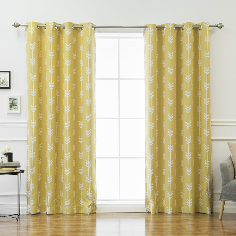 Shaul Striped Semi Sheer Thermal Grommet Curtain Panels (Set Of 2)