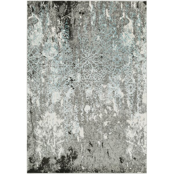 Marian Abstract Modern Gray/Teal Area Rug by Winston Porter