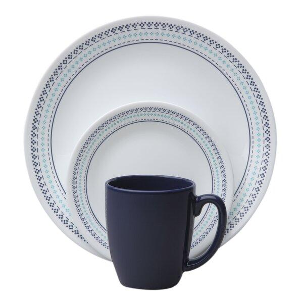 Livingware Folk Stitch 16 Piece Dinnerware Set, Service for 4 by Corelle
