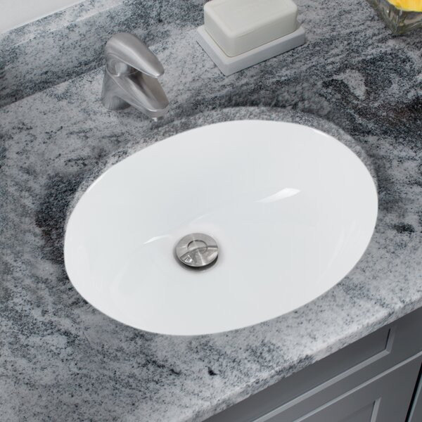 Glazed Vitreous China Oval Undermount Bathroom Sink with Overflow by Soleil