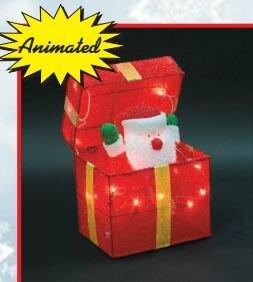 Animated Santa Gift Box Christmas Decoration by The Holiday Aisle